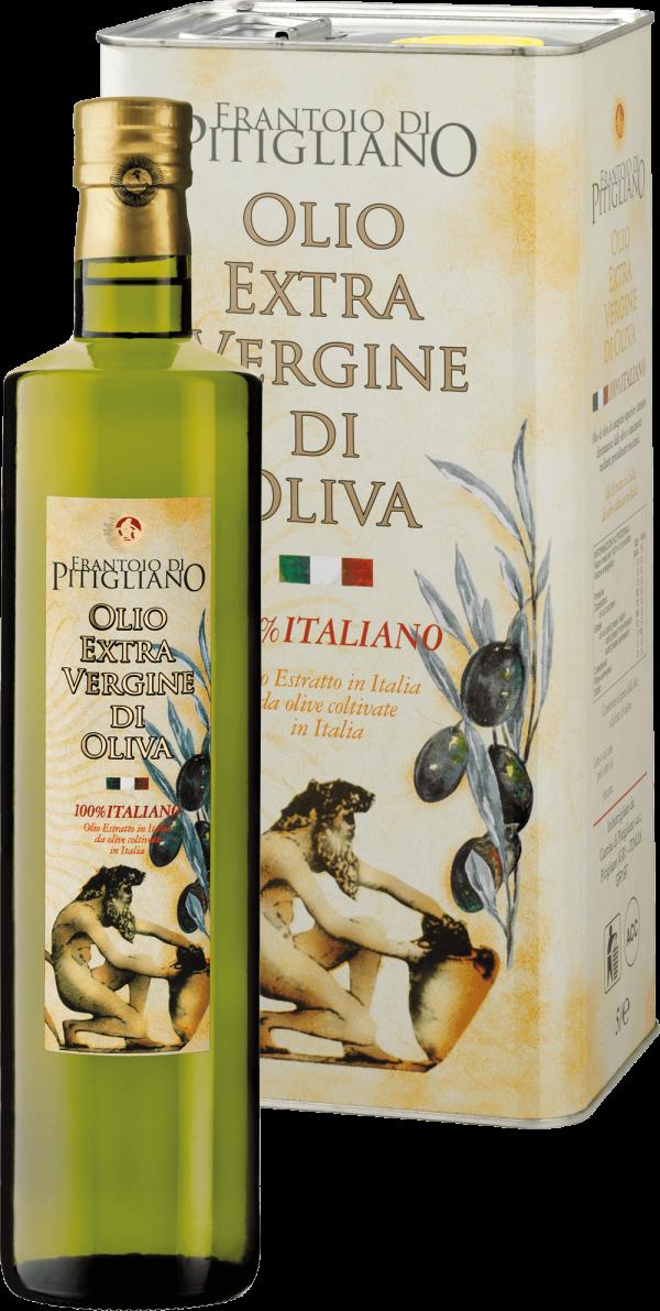 Olio Extra Vergine di Oliva Italiano in bottiglia e latta